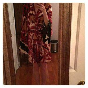 Issa London Silk Animal Print Kimono Dress
